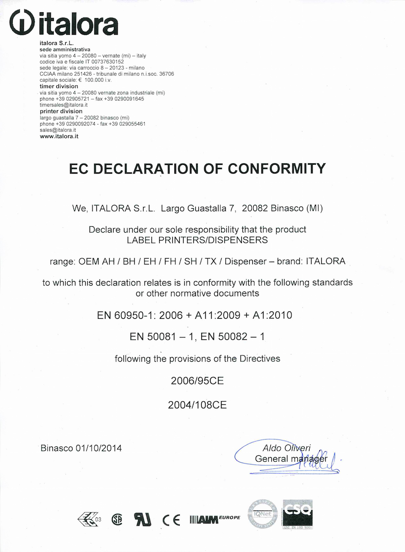 EC Declaration of conformity - Series OEM printers