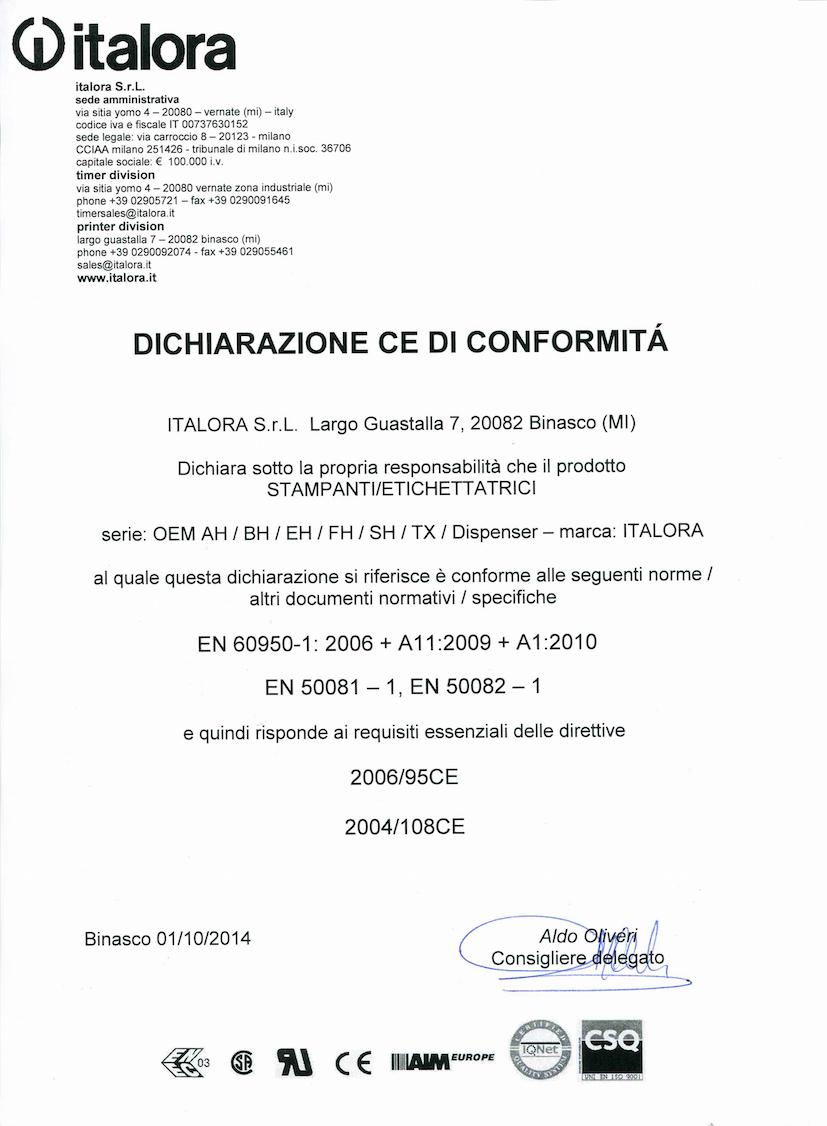 Dichiarazione CE di conformità - Stampanti OEM