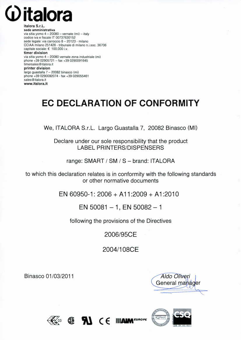 EC Declaration of conformity - Series Smart printers