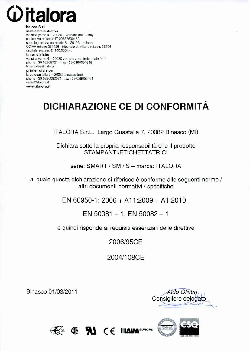 Dichiarazione CE di conformità - Stampanti Smart