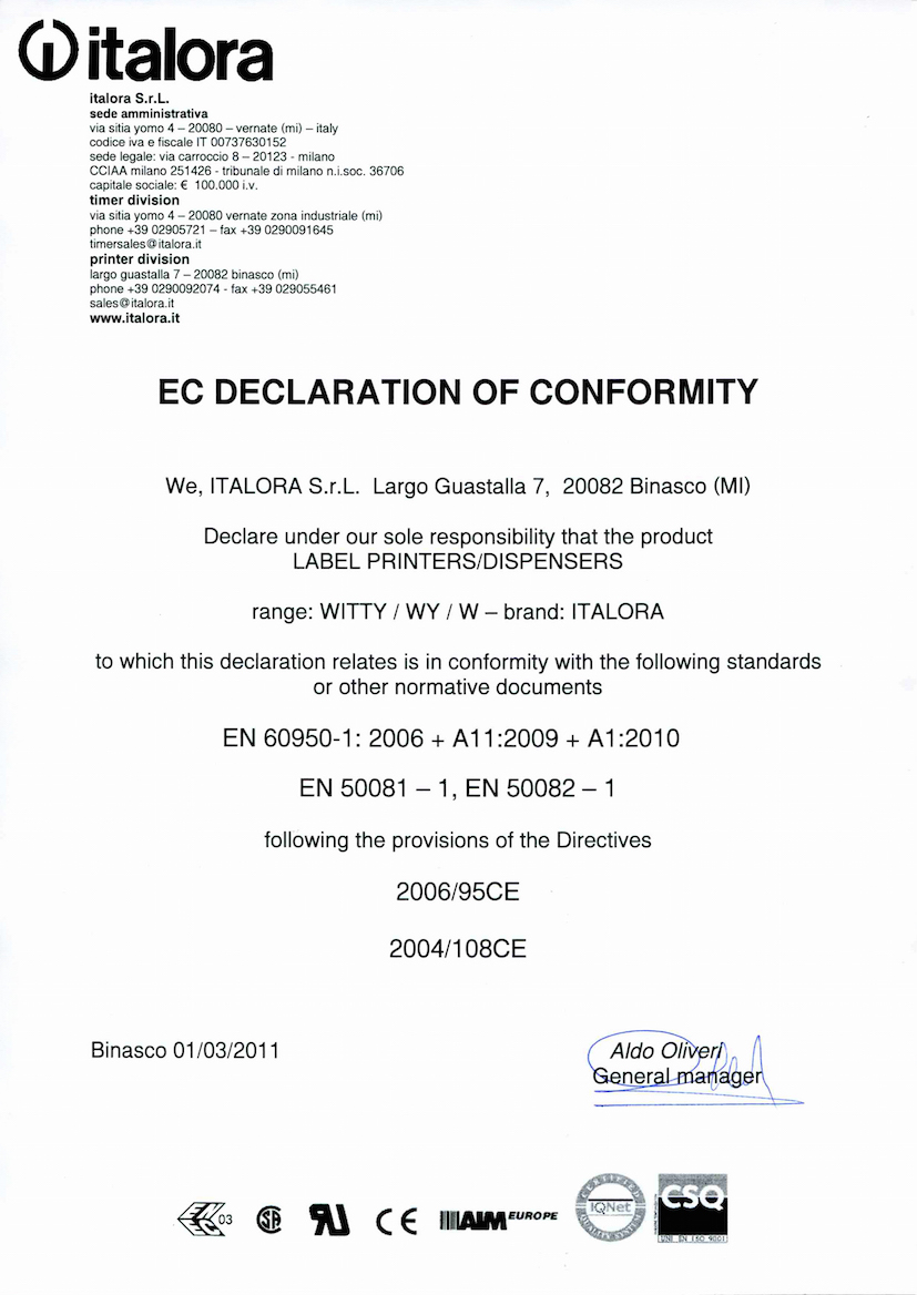 EC Declaration of conformity – Series Witty printers