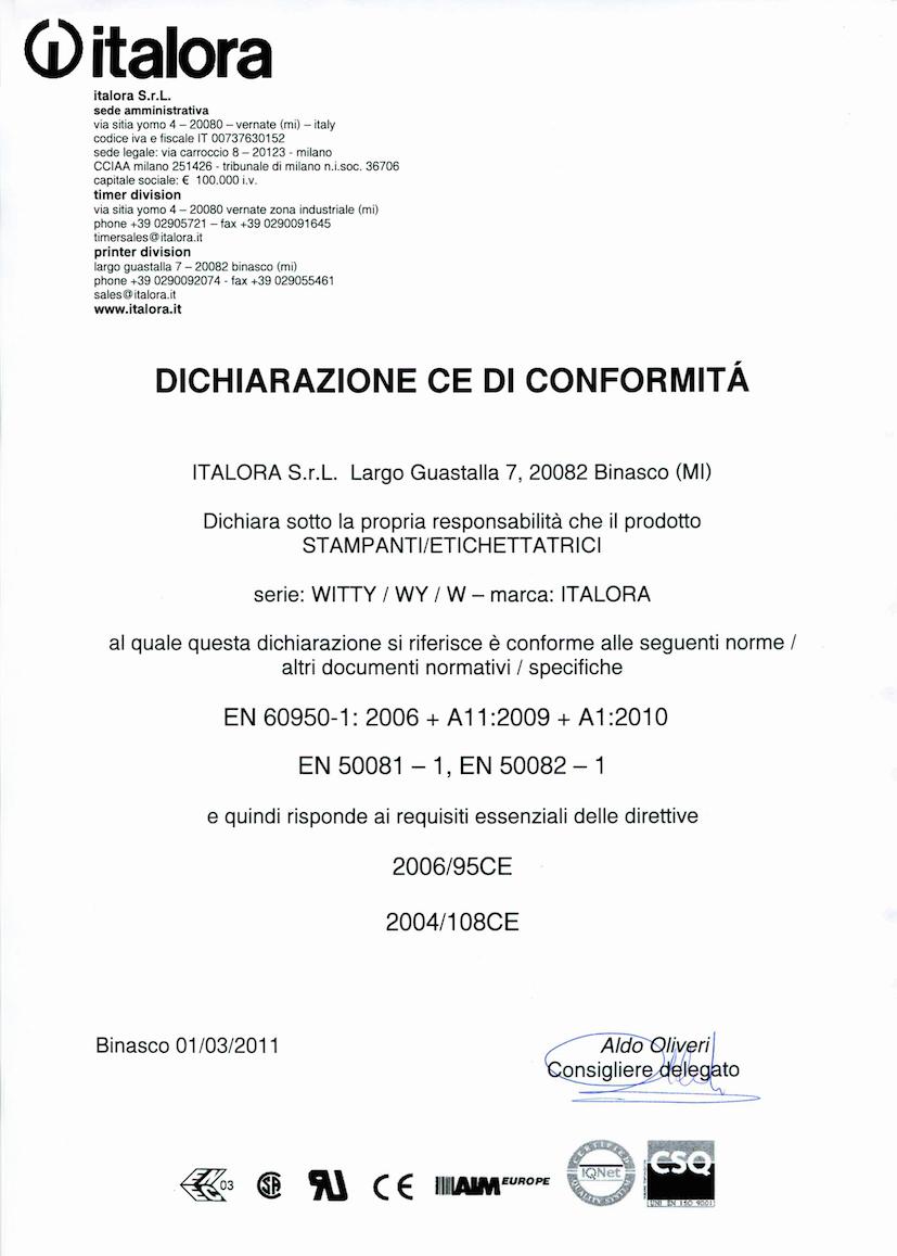 Dichiarazione CE di conformità - Stampanti Witty