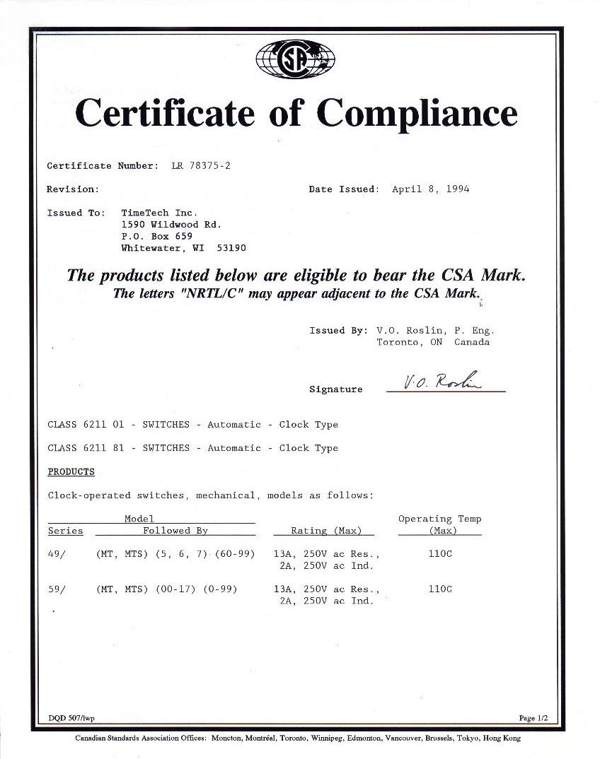 Certificato CSA - Timers MT49/MT59