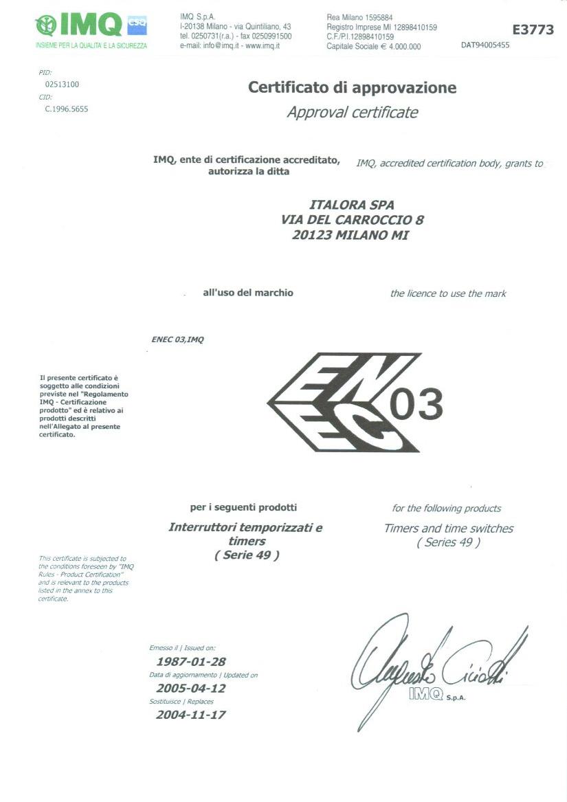 ENEC Certificate - Timer MT49
