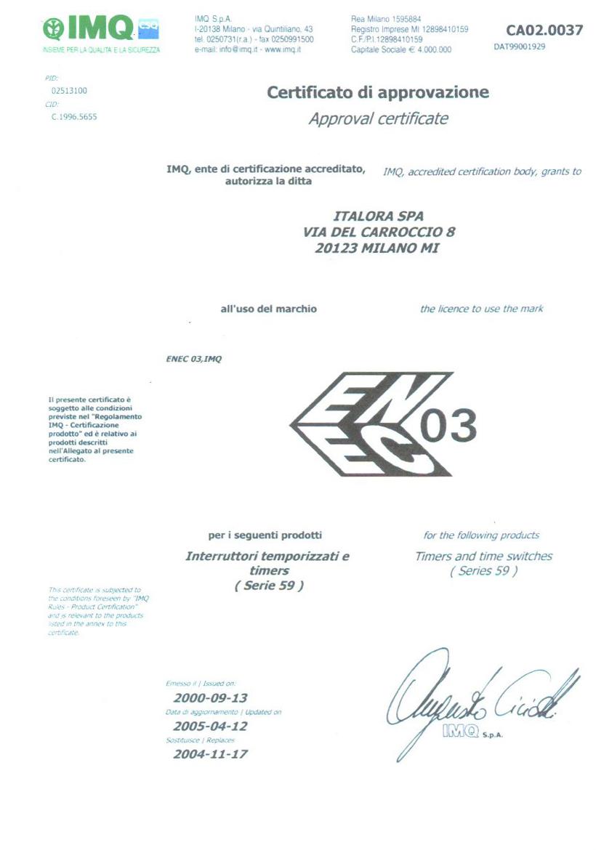 Certificato ENEC - Timer MT59