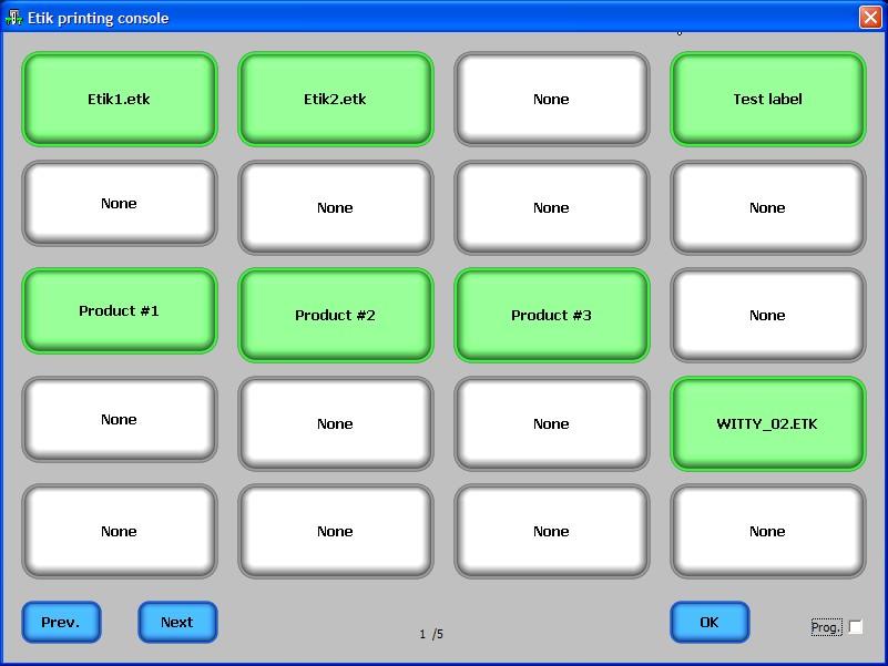 Tabelle pulsanti di stampa diretta con ETIK Manager
