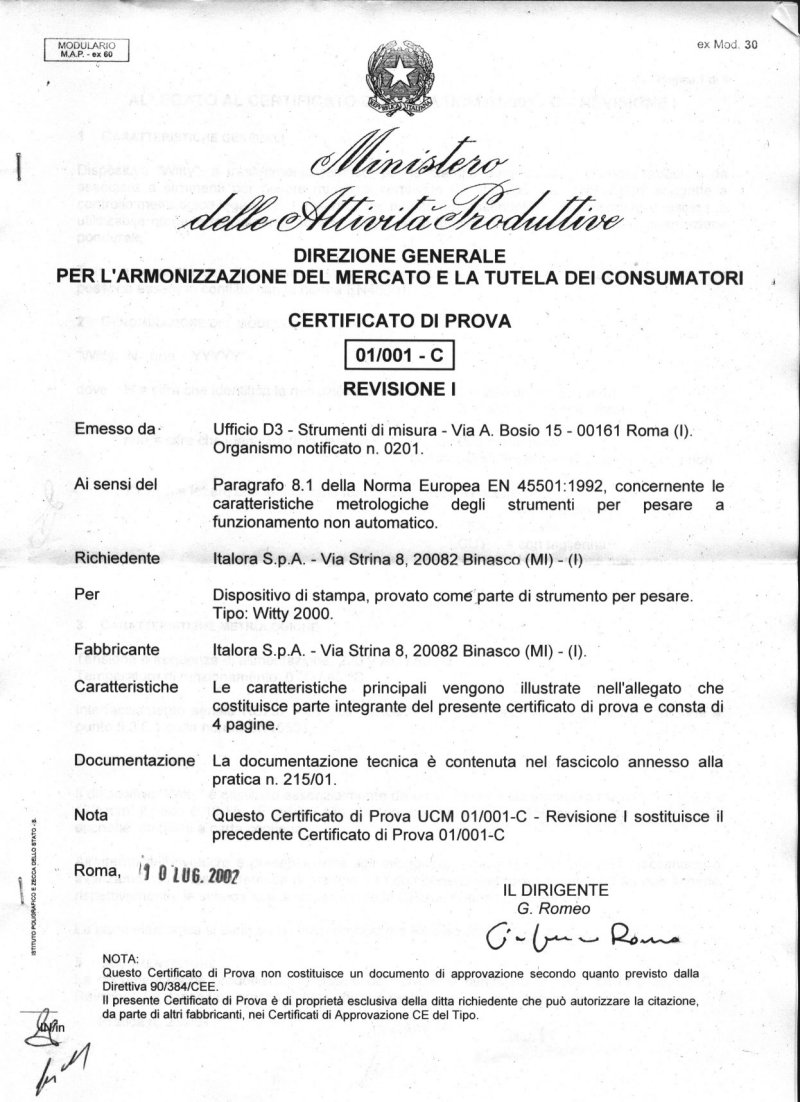 Certificato UCM-01/001-C