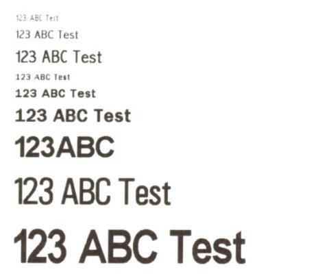Fonts aggiuntivi - immagine digitalizzata di una stampa reale a 300 dpi