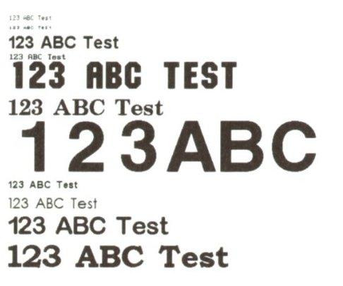 Fonts base - immagine digitalizzata di una stampa reale a 300 dpi